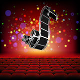 Camera Film roll on background Cinema hall. Illustration stock illustration
