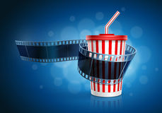 Camera film roll and cardboard cup with a straw. Camera film roll and cardboard cup with a straw on blue defocus background. Vector illustration Stock Photo