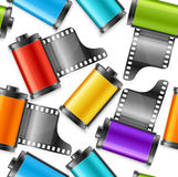 Camera Film Roll Cartrige Background Pattern. Vector Stock Photos