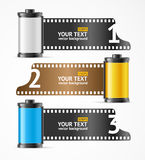 Camera Film Roll Cartrige Banner Card. Vector Stock Image