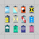 Camera film roll, vector illustration. Set of icons of camera roll Stock Images