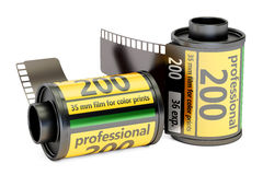 Camera Film Rolls, 3D rendering. On white background Stock Images