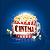 Camera film strip and popcorn on blue background. Detailed vector illustration. Design Stock Image