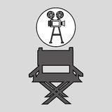 Camera film vintage with movie director chair Stock Photos