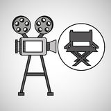 Camera film vintage with movie director chair Royalty Free Stock Photo
