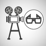 Camera film vintage with movie glasses. Vector illustration eps 10 Royalty Free Stock Image
