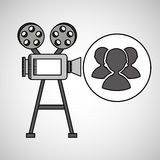 Camera film vintage with movie group s. Vector illustration eps 10 Stock Image