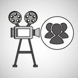 Camera film vintage with movie group s Stock Image