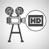 Camera film vintage with movie hd. Vector illustration eps 10 Stock Images