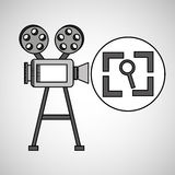 Camera film vintage with movie screen search. Illustration eps 10 Stock Images
