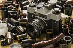 Camera and films. Old film camera Zenith and films Stock Images