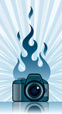Camera with fire stock illustration