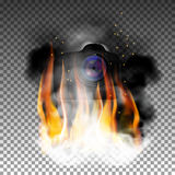 Camera in fire and smoke. The camera is on fire and smoke. The isolated object in fire and smoke retains natural transparency Stock Images