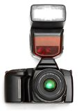 A camera with flash. A camera with a flash attached royalty free stock photos