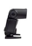 Camera flash. External camera flash light isolated on white stock image