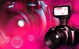 Camera with flashlight Stock Photography