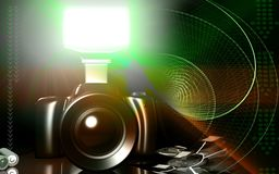 Camera with flashlight Stock Images