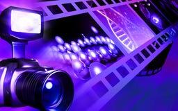 Camera with flashlight flashing Royalty Free Stock Photos