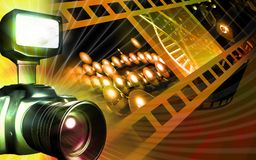 Camera with flashlight flashing Royalty Free Stock Images