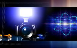 Camera with flashlight and orbit Royalty Free Stock Photos