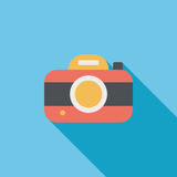 Camera flat icon with long shadow. Cartoon vector illustration vector illustration