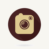 Camera  Flat Icon With Long Shadow Stock Photo