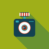 Camera flat icon with long shadow. Vector illustration file royalty free illustration