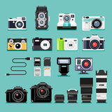 Camera flat icons. Stock Photos