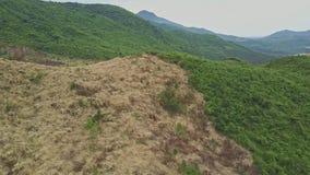 Camera Flies above Felled Terrain against Landscape Sky stock video footage