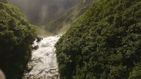 Camera flies away from the waterfall to the bottom.  stock video footage