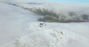 Drone flies from the mountain observatory stock footage