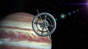 Jupiter on background. Camera flies out of tunnel and flying into space station door, green screen, 3d animation. Camera flies out of the tunnel on background of stock footage