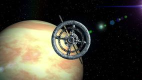 Venus on background. Camera flies out of the tunnel and flying into space station door, green screen, 3d animation. Camera flies out of the tunnel on background stock footage
