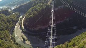 The camera flies over skypark stock video footage