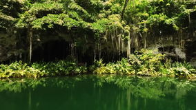 The camera flies to the entrance of the cave above the lake. Around the green trees stock video footage