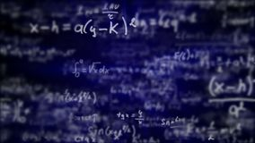 Camera flying through mathematical equations and formulas