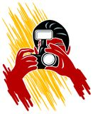 Camera focus. Isolated line art image vector illustration