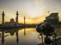 Camera focusing at the Tengku Ampuan Jemaah Mosque Stock Image