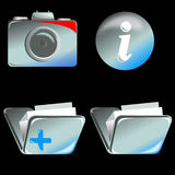 Camera, folder, and info icon Royalty Free Stock Photo