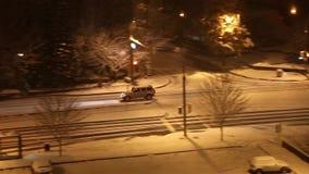 Camera following a car drive at night stock footage
