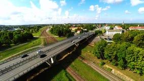 Camera follows cars, on the bridge. Aerial footage. Cars on the bridge. Aerial footage stock footage