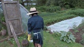 Camera follows female gardener near pots stock video footage