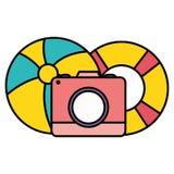 Camera fotografisch met ballon en vlotter vector illustratie