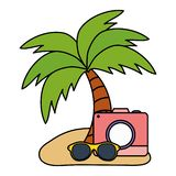 Camera fotografisch met de zomerzonnebril vector illustratie