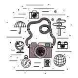 Camera fotografisch met reis vastgestelde pictogrammen vector illustratie