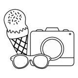 Camera fotografisch met roomijs en zonnebril stock illustratie