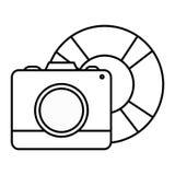 Camera fotografisch met vlotterbadmeester stock illustratie