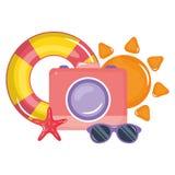 Camera fotografisch met zonnebril en vlotter vector illustratie