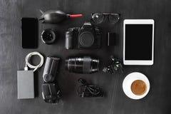 Camera gear set on dark background Royalty Free Stock Photo