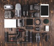 Camera gear on wood top view Royalty Free Stock Image